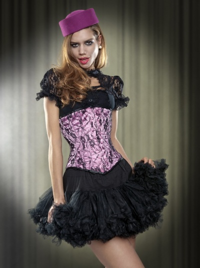 Pink Satin and Black Lace Long Line Underbust Corset - BEC495