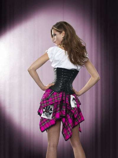 Black Leather Underbust Cincher Corset - BEC504