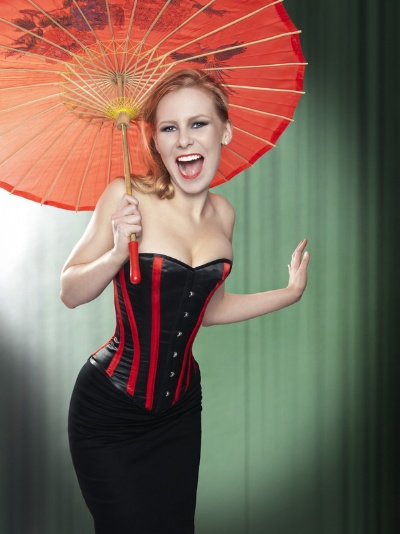 Black and Red Satin Striped Overbust Corset - BEC514