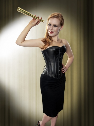 Black Leather Overbust Corset - BEC515