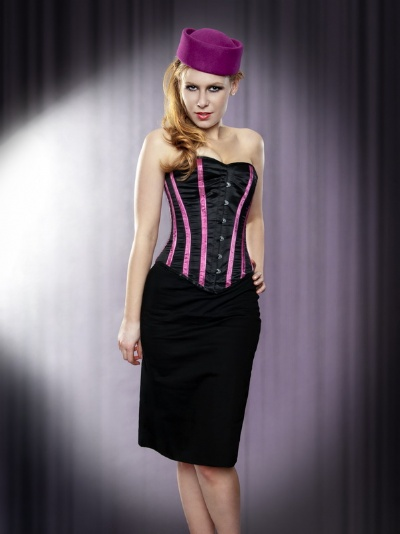 Black and Pink Striped Satin Overbust Corset - BEC519