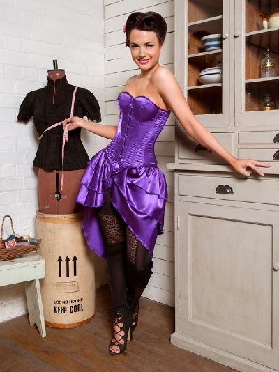 Purple Satin Overbust Corset Dress - BEC523
