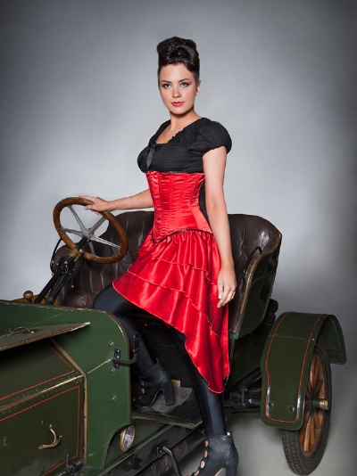 Red Satin Underbust Corset Dress - BEC526