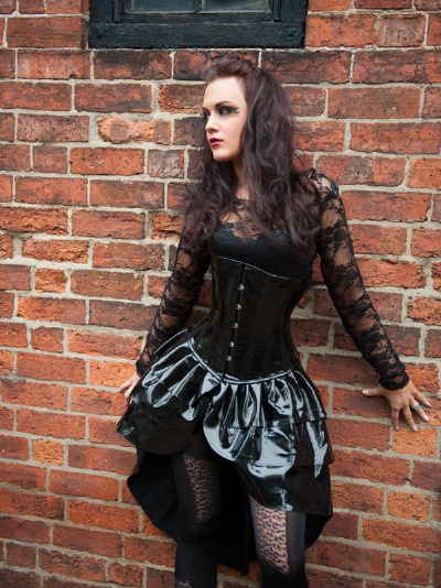 Black PVC Underbust Corset Dress - BEC531