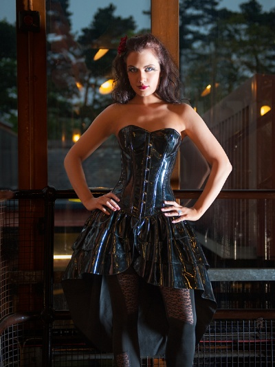 Black PVC Overbust Corset Dress - BEC533