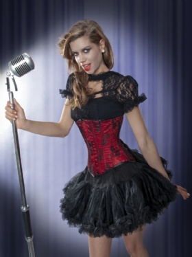 Red Satin and Black Lace Long Line Underbust Corset