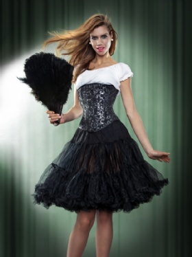 Black and Silver Brocade Long Line Underbust Corset