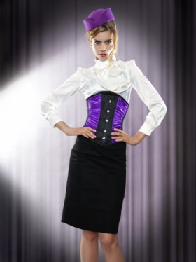 Purple and Black Satin Long Line Underbust Corset