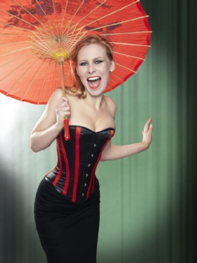 Black and Red Satin Striped Overbust Corset