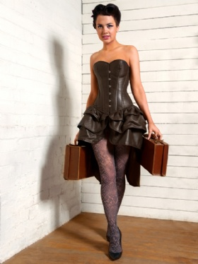 Brown Leather Overbust Corset Dress