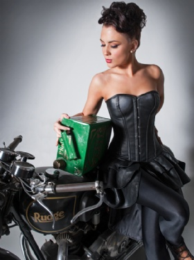 Black Leather Overbust Corset Dress
